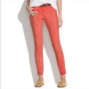 Madewell NWT Coral Skinny Skinny Orange Jeans 30